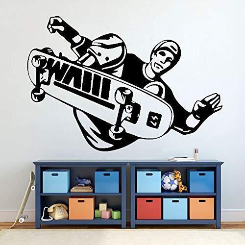 HNXDP Skateboard Sport Wall Sticker Skateboarder Stunt Trick Flip Jump Wall Sticker Vinyle Enfants Chambre Garçons Chambre Décor Affiche X197 61x42 cm