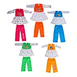Material: Cotton pack of 5 frocks and 5 pyjami Color: Multicolor Type of Sleeves: Full Sleeve