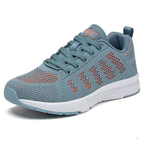 PAMRAY Damen Fitness Laufschuhe Sportschuhe Schnüren Running Sneaker Netz Gym Schuhe Alles Blau 39 EU