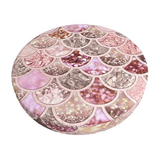 Sirena Hermosa Escala de Pescado Rosa extraíble Lavable Silla de Barra Redonda Funda de cojín elástico Taburete cojín Funda de 12 Pulgadas