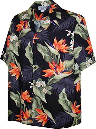 Pacific Legend Tropical Shirts Bird of Paradise 3470-Black L