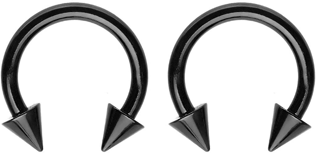 PAIR 16G 14G Anodized Spiked Horseshoe Circular Barbell Labret Septum Earrings