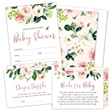 Set of 25 Floral Baby Shower Invitations, Diaper Raffle Tickets and Baby Shower Book Request Cards with Envelopes. It's a Girl Pink Boho Fill-in Invites for Baby Shower