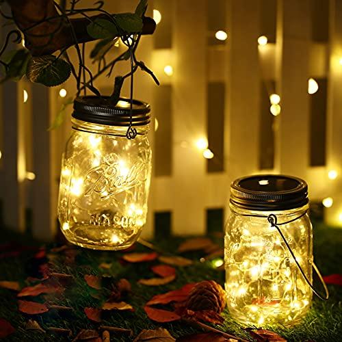 Lámpara de Solar, DazSpirit 2 Piezes lámparas Solares Exterior Decoración Solar Jardín 20 LED Impermeable Luces Masón Luz Hada Jardín Luz Solar para Exteriores Jardín Fiesta Balcón Navidad