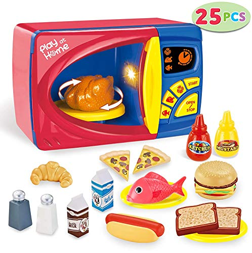 TOYSBBS 25 Pieces Microwave Cooking Kitchen Food Pretend Play Toy Playset, Play Food Kitchen Playset Accessories Fake Food