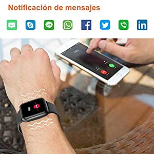 YAMAY Smartwatch, Reloj Inteligente Impermeable IP68 con Oxímetro de Pulso, Esfigmomanómetro y Pulsómetro para Hombre Mujer Niños, Pulsera de Actividad Inteligente con Cronómetro para Android iOS