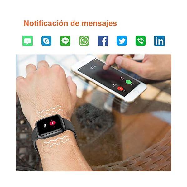 YAMAY Smartwatch con Oxímetro de Pulso Esfigmomanómetro y Pulsómetro Reloj Inteligente Impermeable para Hombre Mujer… 5