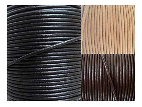 AURORIS - Lederband rund Ø 2 mm - Länge/Farbe wählbar - Variante: 2m / schwarz