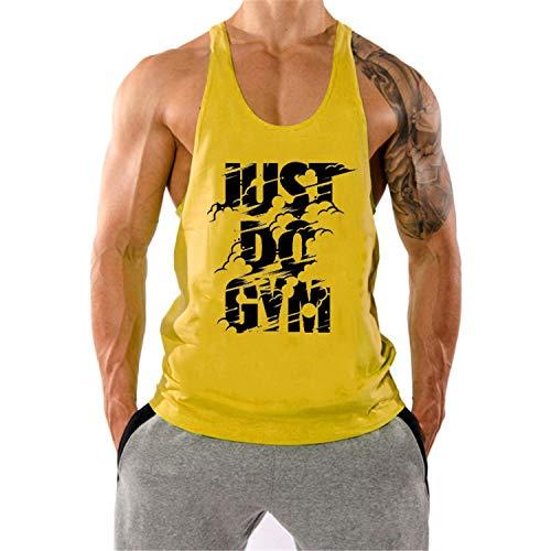 KODOO Herren Gym Muskel Fitness Stringer ärmellos Tank Top Trainingsshirt Sport Bekleidung Geeignet Für Workout Training, Gelb, M