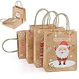 GWHOLE Set de 24 Navidad Cajas de Regalos Cajas para Galletas Dulces de Papel, Caja Cubo Temática Navidad con Asa