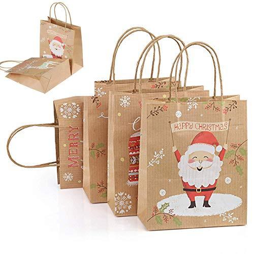 12 x Bolsas de Regalo Navidad de Papel Kraft con Asa, Dibujos de Papá Noel Alces Guante Medias de Navidad (25,5 * 21 * 10cm)