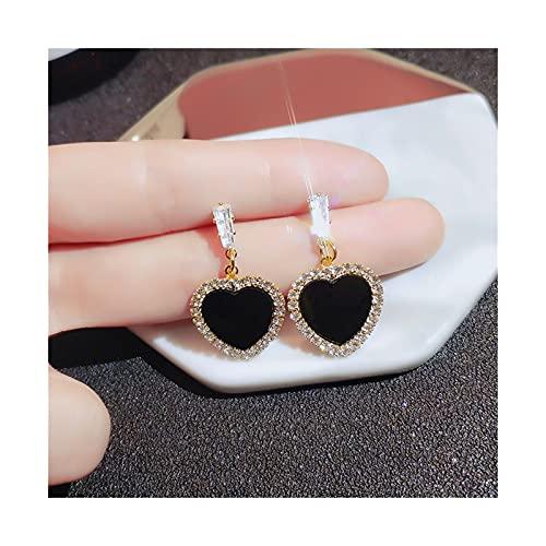 WAZG SYBLD Negro Red Red Rhinestone Pendientes Moda Simple y Versátil Temperamento Femenino Pendientes de Boda Joyería (Metal Color : E105 Tao xin)
