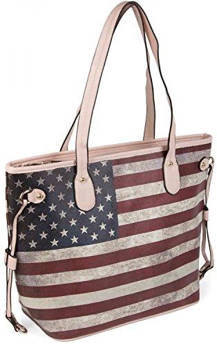 styleBREAKER Designer Handtasche im Vintage USA Stars and Stripes Design, Henkeltasche, Schultertasche, Damen 02012003, Farbe:Rose