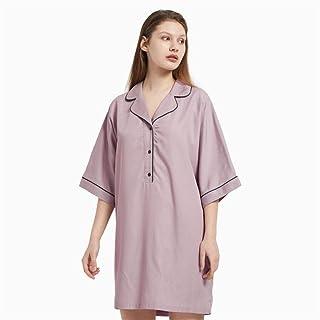 LUOSI Pijama Camisón Mujer Las Mujeres De Manga Corta Camisa De Dormir Camisón Primavera Verano Otoño Ropa De Dormir De Al...
