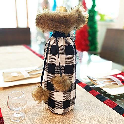 Longzhuo wijnfles, decoratie voor Kerstmis, wijnfles, zakje, rode wijn, cadeauverpakking, kerstkostuum en kerstmuts Mittel wit