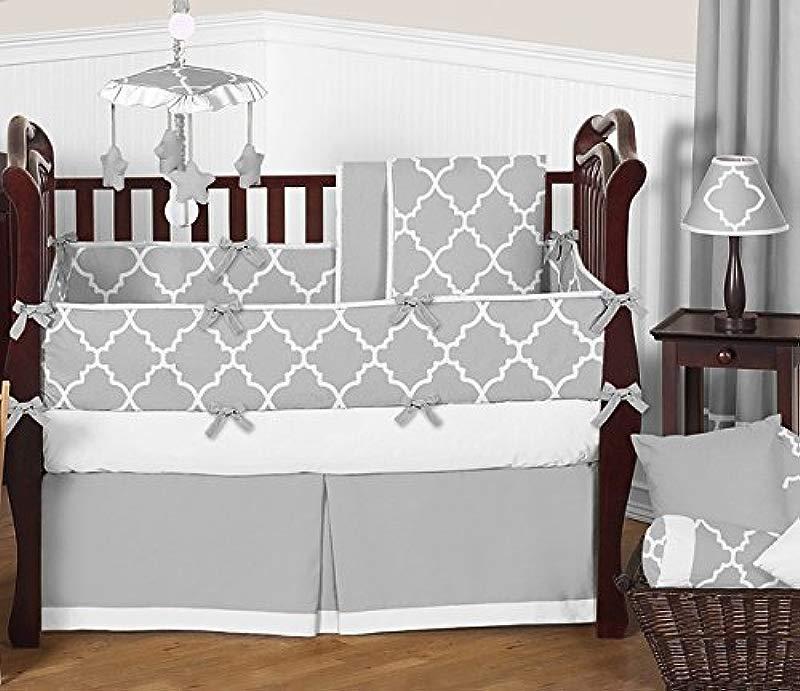 Sweet Jojo Designs 9 Piece Modern Gray And White Trellis Baby Bedding Gender Neutral Girl Or Boy Lattice Print Crib Set
