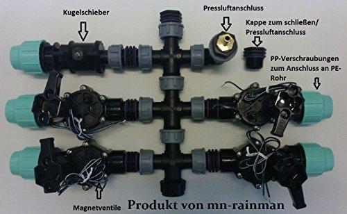 Répartiteur prémonté avec valve magnétique Rain Bird pour boîtier de vannes, raccord tuyau PE de 25 mm (4 zones).