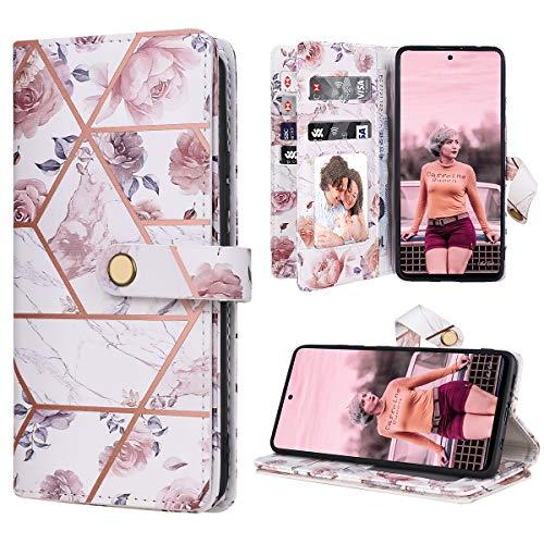 Dracool Funda para Samsung Galaxy A51 5G 6.5 Pulgadas de Cartera Carcasa con 10 Tarjetero Fundas Wallet Case para Mujeres con Libro Tapa con Flor de Cuero Premium Magnético - Mármol Oro Rosa