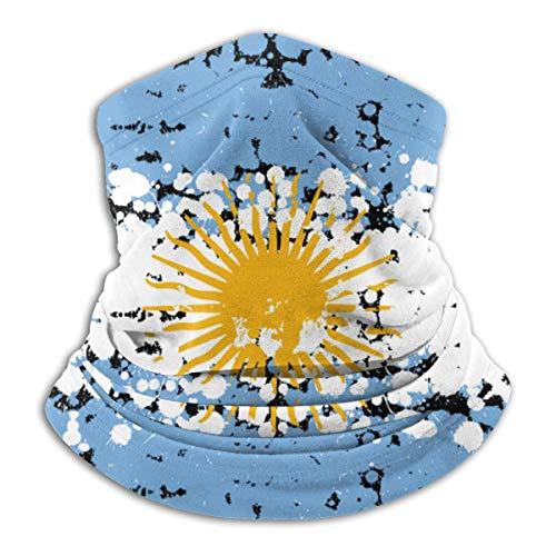 Calentador de Cuello Grunge Blots Fondo de Bandera de Argentina Cara Boca Protección Facial Polaina de Cuello a Prueba de Viento Negro