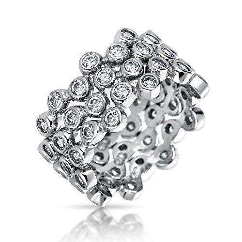 Geometrische Kreis Zirkonia Breite Lünette Cz Blase Stapelbar Ewigkeit Band Ring Einstellen Für Frauen 925 Sterling Silber