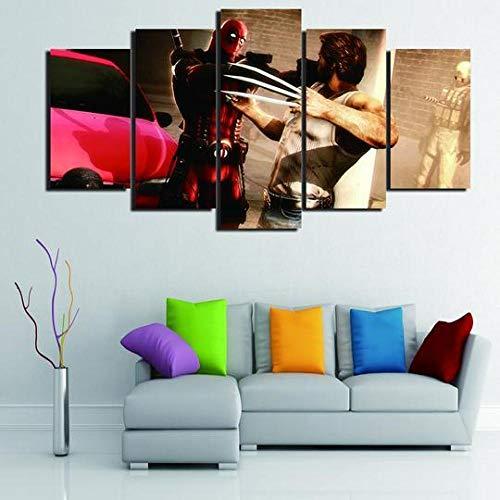 HHXXTTXS Deadpool Vs Wolverine Superhero DC Movie Impression sur Toile intissee—5 Parties HD Tableau Tableaux Decoration Murale Photo Image Artistique Cadre Totale: (H-80 cm x M/B-150 cm)