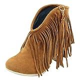 RAZAMAZA Botas Invierno Mujer Retro Tacón Ancho Flecos Botas de Tobillo sin Cordones Cerrado Brown Size 39 Asian