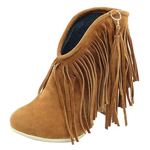 RAZAMAZA Botas Invierno Mujer Retro Tacón Ancho Flecos Botas de Tobillo sin Cordones Cerrado Brown Size 38 Asian