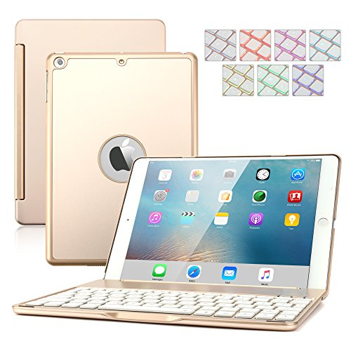 iPad Air 2 Keyboard Case,Dingrich 7 Colors LED Backlight Slim Aluminum Bluetooth Keyboard Clamshell Protective Case with 135 Degree Rotation+Screen Protector+Stylus for iPad Air 2(Not for iPad Air)