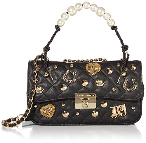 Betsey Johnson Charming Pearl Swag Flap Bag, Black