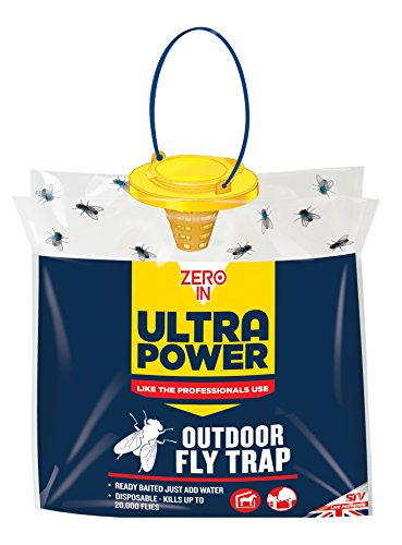 Zero In Ultra Power Outdoor Fly Trap (Disposable, Resealable, Use in...