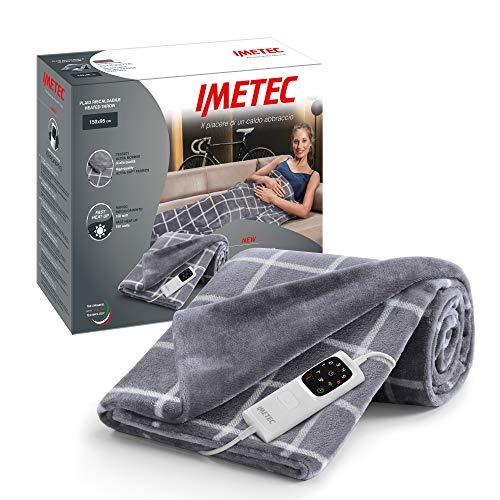 Imetec Adapto Velvet Manta térmica a cuadros 150 x 95 cm, tejido de terciopelo y tacto sedoso, tecnología Adapto, dispositivo de seguridad, calentamiento rápido, 6 temperaturas, lavable