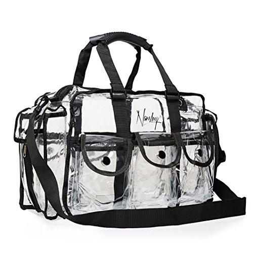 Nanshy Clear Makeup Artist Bag MUA, Large Storage Travel Zip Organiser with Handles, Side Pockets, Shoulder Strap & Compartments, PVC Plastic Vinyl