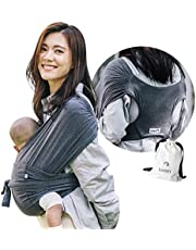 【ママリ口コミ大賞受賞】コニー抱っこ紐 (Konny by Erin) スリング 新生児から20kg 収納袋付き 国際安全認証取得 ぐっすり抱っこひも (チャコール) (M)