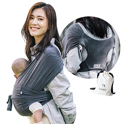 Konny Baby Carrier | Ultra-Lightweight, Hassle-Free Baby Wrap Sling | Newborns, Infants to 44 lbs Toddlers | Soft and Breathable Fabric | Sensible Sleep Solution (Charcoal, M)