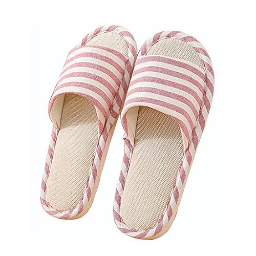 Zapatillas de Lino de Algodón Zapatillas Interior Antideslizantes Rayas Unisex Interior Sandalias Casual Zapatillas de Punta de Puertas Abiertas Zapatos de Casa