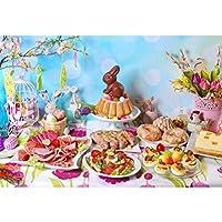 Assanu ビニールイースターの日の背景10 x 8フィート伝統的なイースター朝食のテーブルの背景イースターバニーケーキドーナツおいしいデザート料理美しい花カラフルなイースターエッグボケハロウィーン写真の小道具