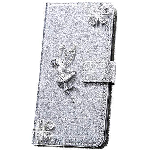 JAWSEU Compatible con Samsung Galaxy S5 Funda, 3D Brillante Brillo Ángel Flores Diamantes Carcasa PU Cuero Libro Flip Billetera Tapa Cierre Magnético Ranura para Tarjetas Soporte Cubierta,Plata