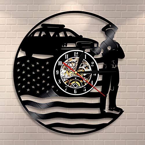 BFMBCHDJ USA Polizist Wanduhr Polizeistation Wanddekor Vinyl Schallplatte Wanduhr USA Cop Retro Wandkunst Polizist Ruhestand Geschenk