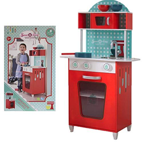 Bada Bing Spielküche Kinderküche Holzküche Küche Sweet & Easy Enie Backt Ca. 110 x 60 x 30 cm Für Kinder Rot Türkis Kinder Rollenspiel 40