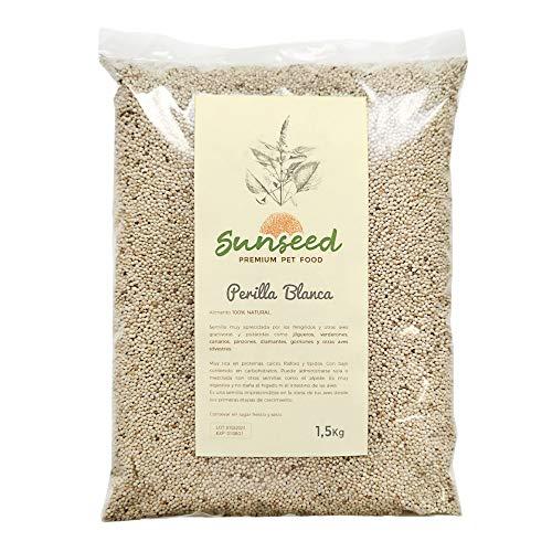Sunseed Perilla Blanca, alimento para Aves granivoras Canarios, jilgueros, gorriones 1,5 kg