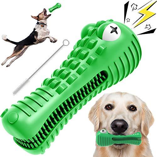Kauspielzeug für Hunde für aggressives Kauen, Krokodil-Zahnpflege-Spielzeug mit Naturkautschuk für große und mittelgroße Hunderassen, Mundpflege (grün)