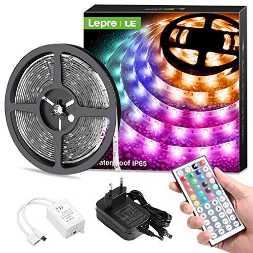 Lepro LED Strip 5M, LED Streifen Lichterkette mit Fernbedienung, Band Lichter Wasserdicht IP65, RGB Dimmbar Lichtleiste Light, Lichtband Leiste, Bunt Kette Stripes für Party Weihnachten Deko