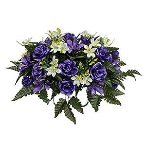 White Purple Cemetery Flower Arrangement, Headstone Saddle, Grave, Tombstone Arrangement, Cemetery Flowers SS4028