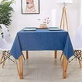桌布 テーブルクロス テーブルマ 濃紺の防水綿のリネンテーブルクロスのコーヒーテーブルの無地のリネンの喫茶店のプレースマットの机のテーブルクロス GAOFENG (Color : Dark blue, Size : 90 90cm)