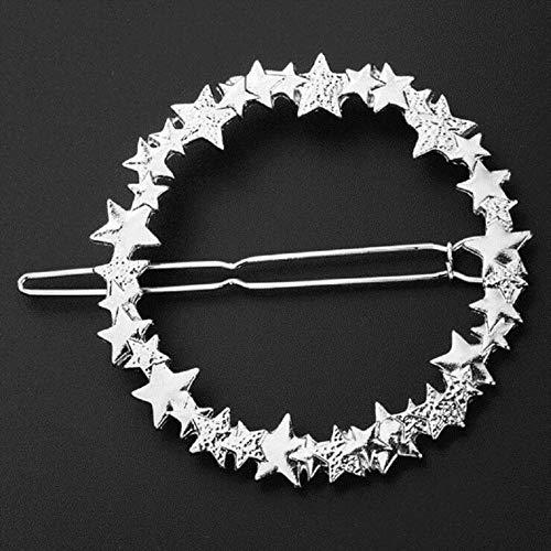 Elegante ronde sterren haarspeld vrouwen luxe metalen haarspeld charme glanzende legering haar ring mode meisje hoofdwear haaraccessoires zilver
