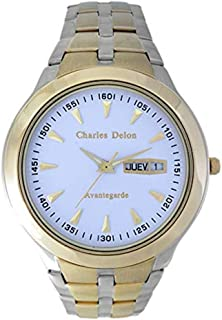 Charles Delon Men's Quartz Watch, Analog Display and Solid Stainless Steel Strap 5247 GTWT