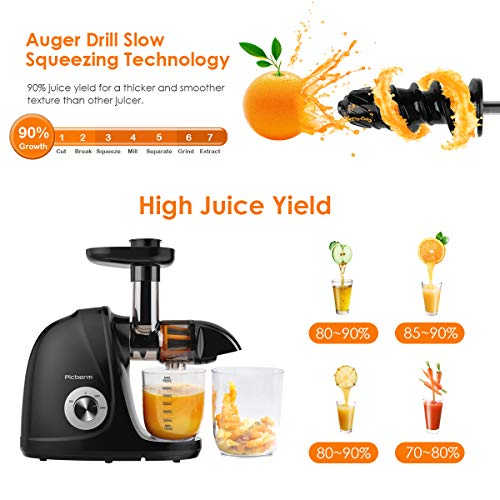 Juicer Machine, Picberm Slow Masticating Juicer with Reverse Function Quiet Motor, BPA-Free Cold Press Fresh Fruits and…