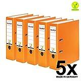 Original Falken 5er Pack PP-Color Kunststoff-Ordner. Made in Germany. 8 cm breit DIN A4 orange Vegan Ringordner Aktenordner Briefordner Büroordner Plastikordner Schlitzordner