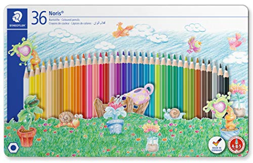 Staedtler Noris Colouring Pencils 145 SPM36 Sport Design Tin 36, Packaging may vary