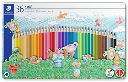 Staedtler 145 SPM36 Noris 144, Crayons De Couleur De Haute Qualité Avec Système Anti-Casse, Mine Douce De 3 Mm, Boîte En Métal Avec 36 Couleurs Vives Différentes